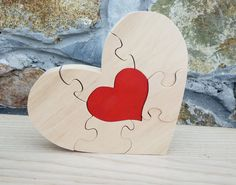 Free shipping Red heart Gift to the Valentine's day Wood puzzle by DayDreamToys on Etsy