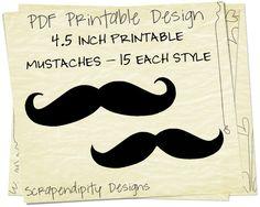 DIY Printable Mustache - Mustache Straw Printable / Mustache Baby Shower / Mustache Party Decorations / Kids Mustache Party Printables. $4.00, via Etsy.