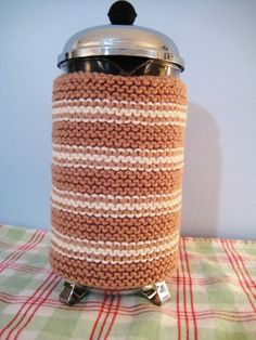 French Press Cozy Natural Stripes by CozyKitchenKnits on Etsy, $18.00
