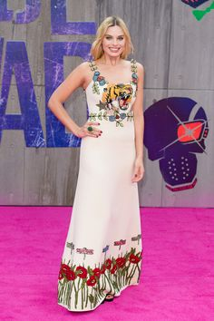 Margot Robbie in Gucci with Cartier jewelry at the London premiere of Suicide Squad.