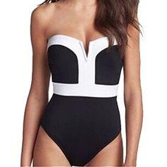 Partiss Damen V-Kragen Design Bikini Einteiliger Badeanzug