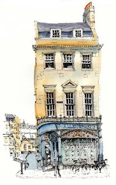 Wonderful illustration of George Street Bath by Chris Lee. Watercolor Architecture, Architecture Drawings, Classical Architecture, Sketchbook Inspiration, Art Sketchbook, Travel Sketchbook, Fashion Sketchbook, Art Et Illustration, Illustrations
