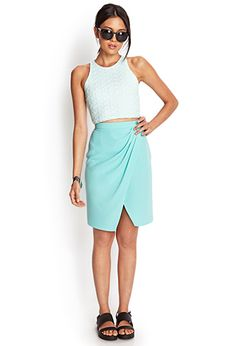 High Waisted Teal Skirt #Forever21