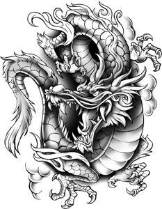 Very detailed Classic Urban dragon temporary tattoo