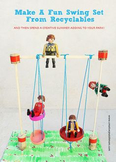 miniature swing set craft from recyclables for creative kids diy bastelnbasteleispiele fur