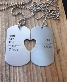 Custom military dog tag hand stamped his and her by CMKreations, $48.00