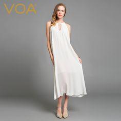 Encontrar Más Vestidos Información acerca de VOA 2016 Europa y el nuevo vestido de seda Sin Tirantes blanco elegante y agraciado loose beach vestidos A6013, alta calidad vestido elegante, China vestido de seda Proveedores, barato vestido de la playa de VOA Flagship Shop en Aliexpress.com