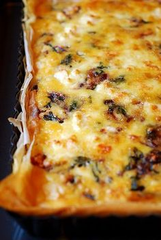 DELICIOUS Spinach and Feta Tart with Phyllo Crust - This was simple to make and the leftovers made a great breakfast * This is a favorite recipe - I've made this and I'll make it again *