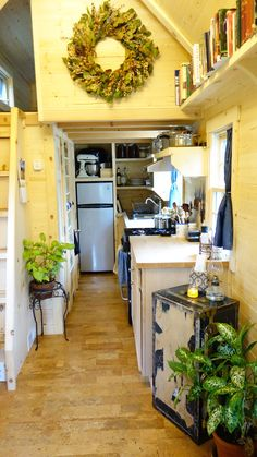 Ariel's 180 square feet tiny house on wheels in the mountains of Wyoming.