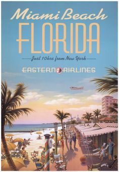 Vintage Travel Poster - Miami Beach (Florida), USA