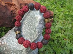 FREE SHIPPING Lava Stone Men's bracelet metal by ChicBEADS4You