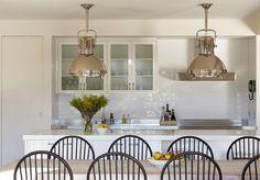 Ralph Lauren Home Montauk Pendant - Transitional - kitchen - Diane Bergeron Interiors Kitchen Benches, Wooden Kitchen, Beach House Kitchens, Home Kitchens, Beach House Lighting, Organizing Hacks, Modern Cottage, Cottage Living, Property Design