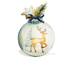 Watercolor Painting - Christmas Ornament with Reindeer Painting - 5 by 7 print - Archival Print, Minimalist, Home Decor, Nature Art