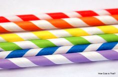 Rainbow Striped Paper Straws #paperstraws How Cute is That?