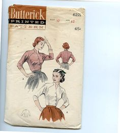 1950s Diagonally Buttoned Blouse Butterick by VioletCrownEmporium, $19.00