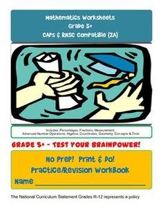 No Prep! Print & Do! Grade 5+ Advanced Math Practice Workbook CAPs/RNSC Compatible #CAPsCurriculum #SouthAfrica #Education #Homeschool #Grade5Math #MathWorksheets #Worksheets
