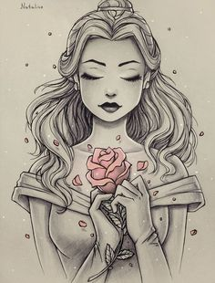 This is Beautiful ! Sketched picture of Disney Princess Belle, with only the rose in color. #ad