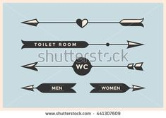 Set of vintage arrows and banners with inscription WC, Toilet room, Woman and Man. Design elements in retro style arrow signs on color background. Vector Illustration