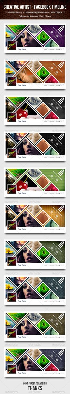 Creative Artist / Photographer Timeline - Facebook  #GraphicRiver         Facebook has a great new feature called Timeline! It allows you display a nice banner sized image at the top of your profile. This package includes A Facebook Timeline Cover with option of 10 different background template designed in Photoshop. Well organized layer sets makes it easy to edit. All fonts used are available for download, nice and easy!  	 main features:  	 1) Top Colors 2) 10 Different Backgrounds 3)…