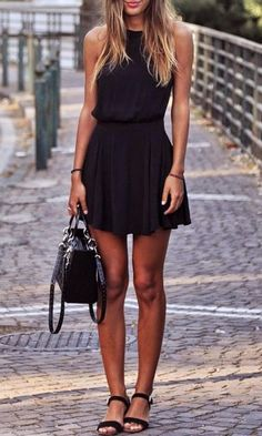 Wear black skater dress for a refined yet off-duty ensemble. Black suede flat sandals will add a new dimension to an otherwise classic look.   Shop this look on Lookastic: https://lookastic.com/women/looks/black-skater-dress-black-suede-flat-sandals-black-suede-satchel-bag/11100   — Black Skater Dress  — Black Suede Satchel Bag  — Black Suede Flat Sandals
