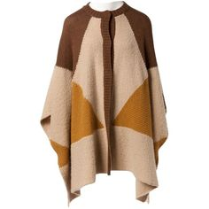 Pre-owned Stella Mc Cartney Wool Cardi Coat ($422) ❤ liked on Polyvore featuring outerwear, coats, brown, women clothing knitwear, long brown coat, long woolen coats, wool coat, style poncho and woolen poncho