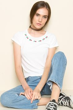 Brandy ♥ Melville   Mason Roses Embroidery Top - Just In