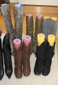 well isn't that smart. pool noodles in boots to keep their shape.
