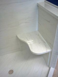Custom cultured marble in the shower- the look of marble for a fraction of the cost!