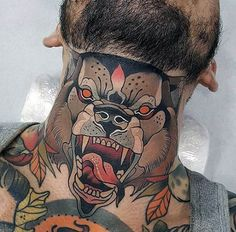 american_traditional_colored_neck_tattoo_of.jpg (600×590)