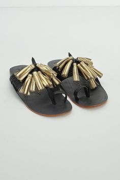 Black and Gold Scaramouche Sandal by Figue   shopheist.com