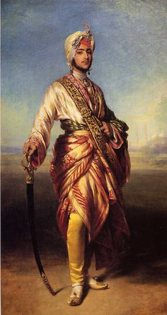 """Dalip (Duleep) Singh the last & exiled Maharaja of the Sikh Empire, who """"gave"""" the Koh-i-Noor diamond to Queen Victoria. 1854 portrait by Franz Xaver Winterhalter. Franz Xaver Winterhalter, Duleep Singh, Maharaja Ranjit Singh, Indian Prince, Jean Leon, Empire Ottoman, Art Occidental, Royal Indian, Vintage India"""