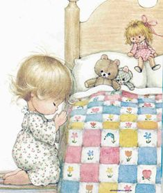 🌃 Night-time prayers at the Cottage include the 🐻 bears and Dolly, too. Vintage Pictures, Cute Pictures, Bedtime Prayer, Vintage Illustration Art, Cartoon Clip, Angel Pictures, Holly Hobbie, Baby Art, Illustrations And Posters