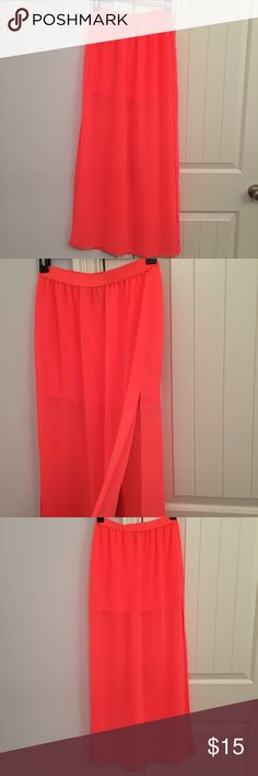 H&M Long Maxi Sheer Mini Skirt 4 Small Such a cute skirt for the spring and summer! It's a long maxi skirt with a slit on each side and a mini skirt under. It's all one piece and in great condition! says 34 or US 4 - fits like a small too :) H&M Skirts