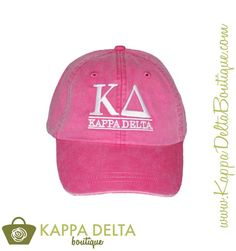 Shop our newest April Accessories! Kappa Delta Hot Pink Embroidered Hat