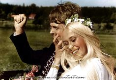 """Björn Ulvaeus marrying Agnetha Fältskog in 1971 - the marriage was called the wedding of the year in Sweden and Agnetha became """"Summer bride"""". In 1973 they would form a pop-group ABBA togehter with Benny Andesrson and Frida Lyngstad."""