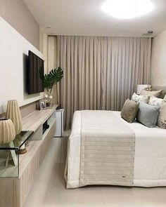 Quiet interior of a small bedroom … – # möbe … – Room Decoration Modern Bedroom Design, Master Bedroom Design, Home Office Design, Home Bedroom, Bedroom Decor, Cozy Room, Suites, Beautiful Bedrooms, House Rooms