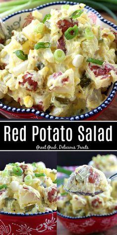 Easy Salad Recipes, Side Dish Recipes, Great Recipes, Potato Salad Recipes, Side Dishes, Fast Recipes, Potato Pasta, Potato Dishes, Red Potato Salads