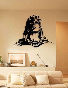 Creative Wall Painting, Wall Painting Decor, Creative Walls, Shiva Art, Hindu Art, Wall Art Designs, Wall Design, Buddha Wall Art, Buddha Wall Painting