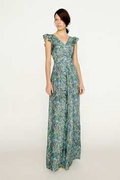 Calypso Frill Sleeve Printed Maxi by Collette Dinnigan