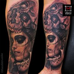 Muecke tattoo girl skull cap eyeball tattoo