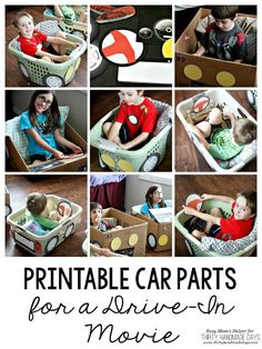 Let your kids have fun using boxes/laundry baskets and these Printable Car Parts for a Drive-in Movie night! Drive In, Movie Drive, Backyard Movie Theaters, Cars Birthday Parties, Car Birthday, Birthday Games, Movie Crafts, Cardboard Car, Outdoor Movie Nights