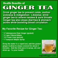do it yourself recipe, and health benefits of ginger tea #plantbased diet