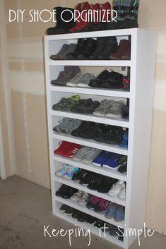 Food And Drink-Recipes Shoe Storage Solutions - DIY Shoe Shelf Organizer Shoe Shelf Diy, Diy Shoe Storage, Diy Shoe Rack, Shoe Shelves, Shoe Racks, Craft Storage, Storage Ideas, Best Shoe Rack, Shoe Storage Solutions