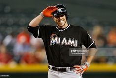 Jose Fernandez #16 of the Miami Marlins reacts at second base after hitting a RBI double against the Arizona Diamondbacks during the second inning of the MLB game against the Arizona Diamondbacks at Chase Field on July 22, 2015 in Phoenix, Arizona.