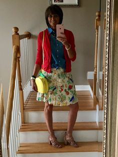 J crew sweater, chambray top, and Hawaii print skirt. Pineapple bag by Kate spade. Shoes nine west .