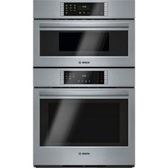"Bosch - 800 Series 30"" Single Electric Convection Wall Oven with Built-In Microwave - Stainless Steel - Front Zoom"
