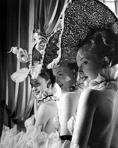 Show girls (l-r) Dawn McInerney, Thana Barclay and Joy Skylar in costume at Latin Quarter in New York - Photo by Gjon Mili, 1947