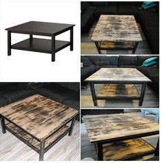 My own furniture makeover. A coffetable from Ikea, Hemnes, got a new industrial look and style.