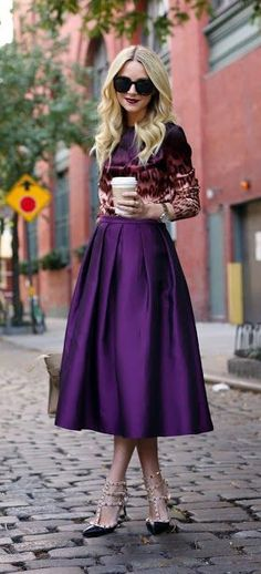 purple midi skirt