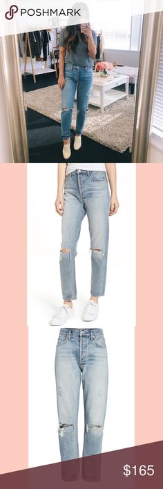 NWT Agolde Jaime High Waist Ankle Jeans So nice, I got them twice! Bought and was gifted a pair.  These are my FAVORITE jeans. Agolde knows how to make 'em! I'm 5'3'' and only need to cuff these a bit. The rips are in the perfect places and the fit hugs in the right places! Retailing right now for $190. Agolde Jeans